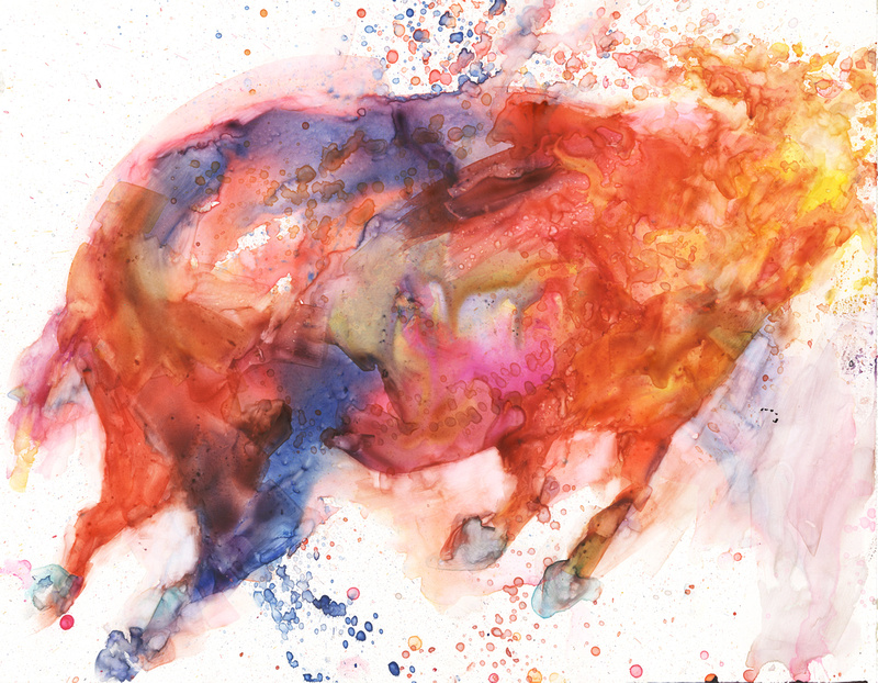 """The Red Bull, watercolor on yupo, 11""""x14, 2015"""