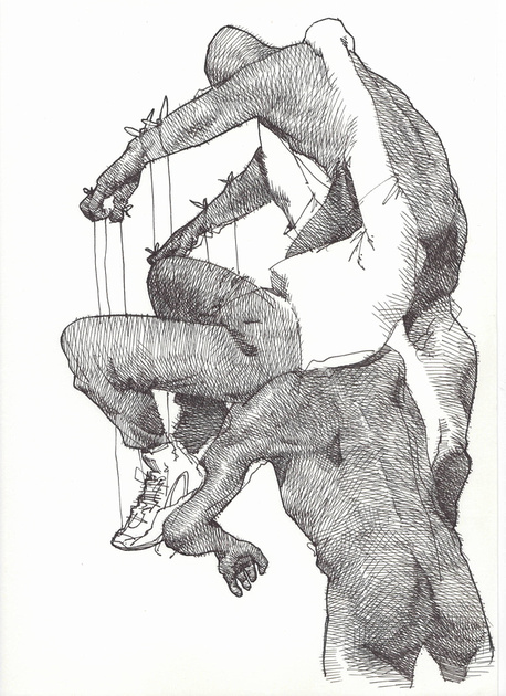 """'Life Drawing #40', ink on paper, 9""""x12"""", 2016"""