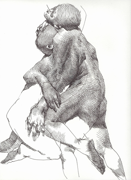 """'Life Drawing #35', ink on paper, 11""""x14"""", 2016"""