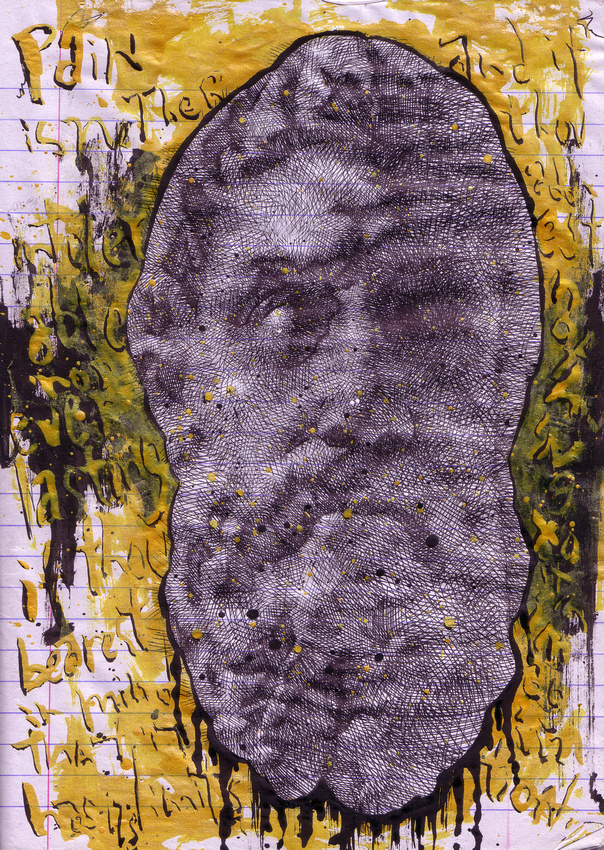 """paying heed to Epicurus, ink (gold, black) on paper, 8.5""""x 10"""", 2013"""