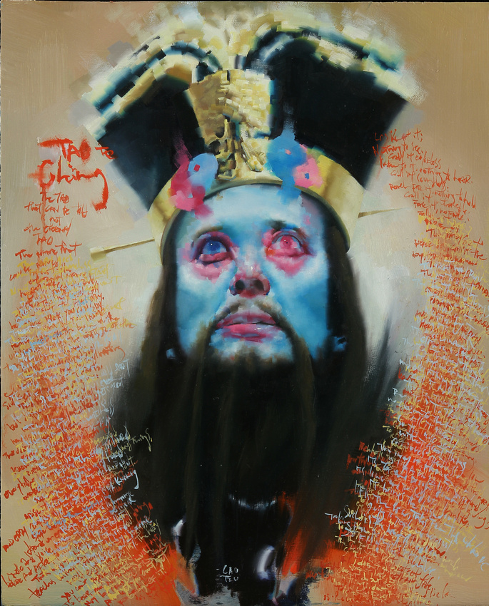 """Homage to the Tao Te Ching, 16""""x20"""", oil on wood, 2014"""