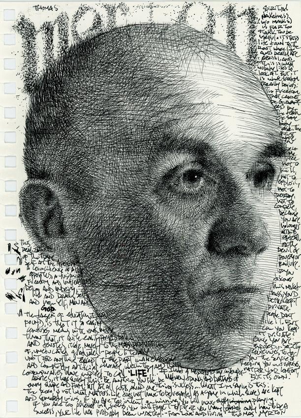 "homage to Thomas Merton, ink on paper, 5.5""x 8.5"", 2014"