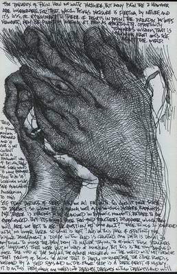 """Akira Beard: Love in Spite of Everything &emdash; """"The Paradox of Pain"""", ink on paper, 5.5"""", 2013"""