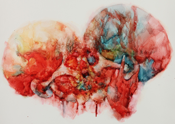 "the anatomy of love III, watercolor on Yupo paper, 20""x 26"", 2015"