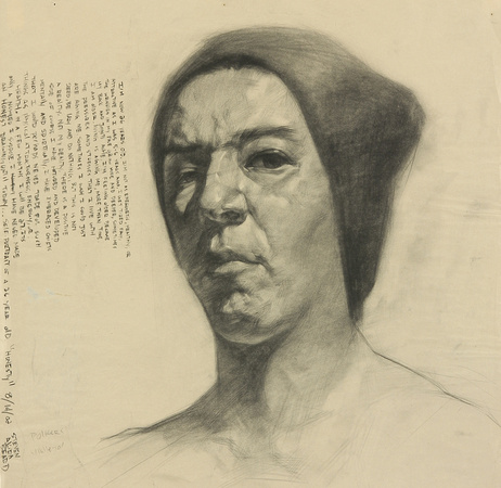 self portrait 7, charcoal on newsprint paper, (2002)