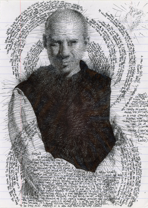 "homage to Thomas Merton, ink on paper, 8.5"" x 10"", 2014"