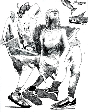 "Life Drawing (exquisite corpse) collaboration with Della Heywood, 11""x14"", ink on paper, 2017"