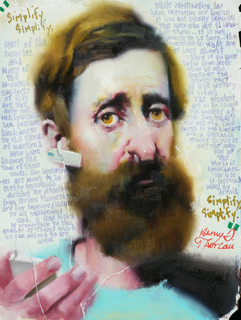 """Modern Thoreau"", 9""x 12"", watersoluble oil paint on paper, 2011"