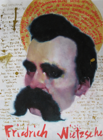 """Homage to Nietzsche"", 9""x 12"", oil on paper, 2011"
