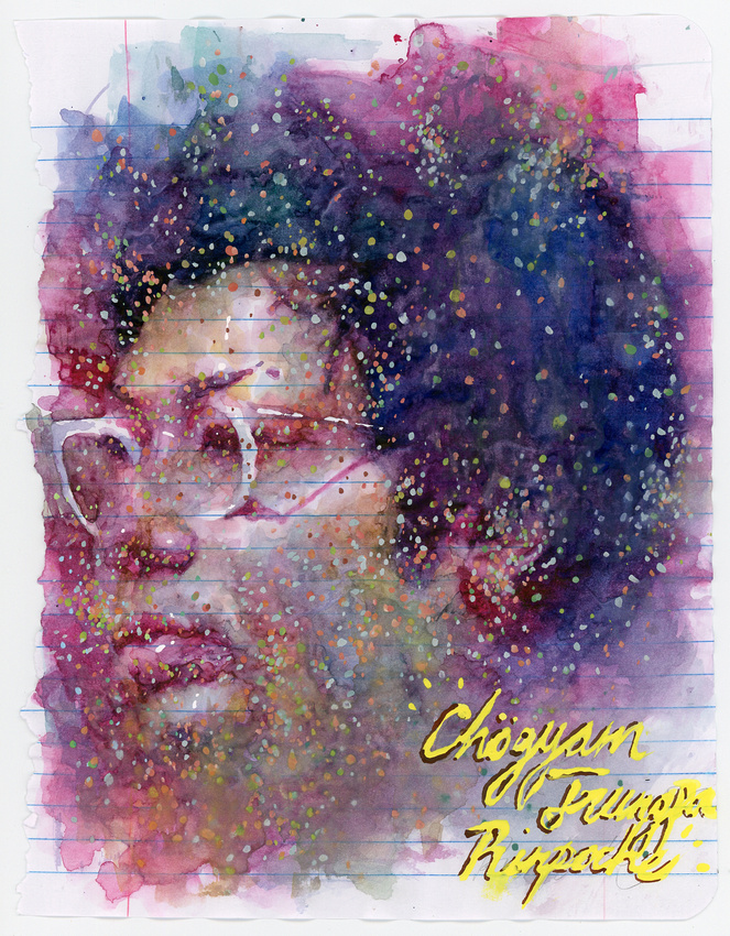 "homage to Chogyam Trungpa II, watercolor/goauche on paper, 9""x 12"", 2014"