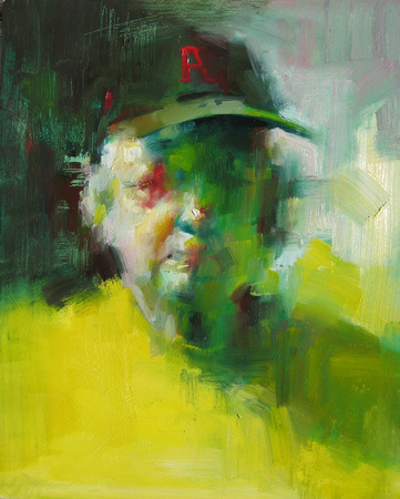 """Earnie"", oil on glass, 9""x12"", 2007"