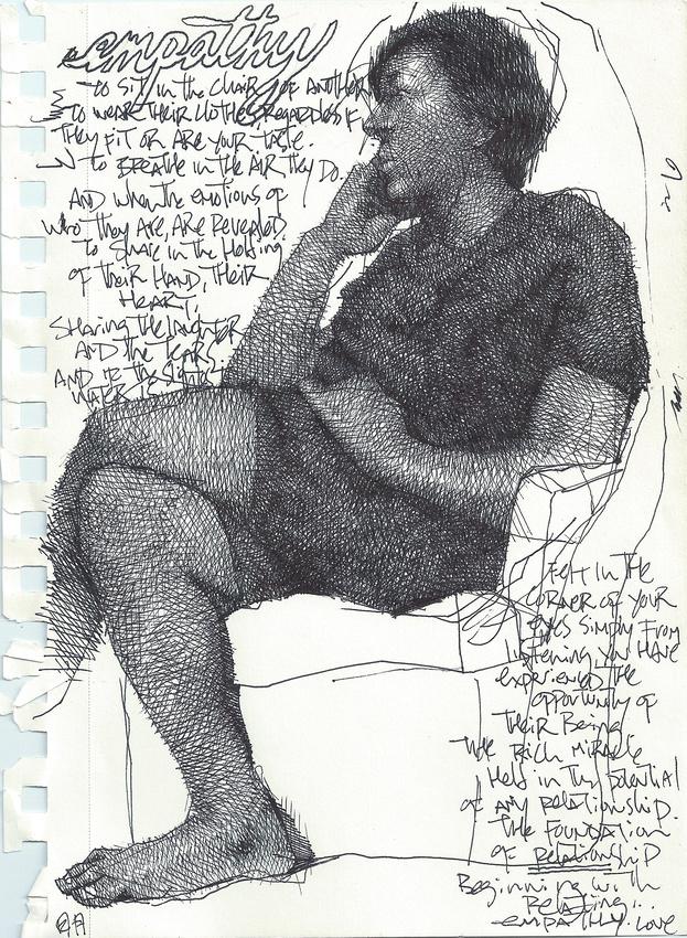 """Symbiotic Empathy"", ink on paper, 5.5""x 8.5"", 2014"