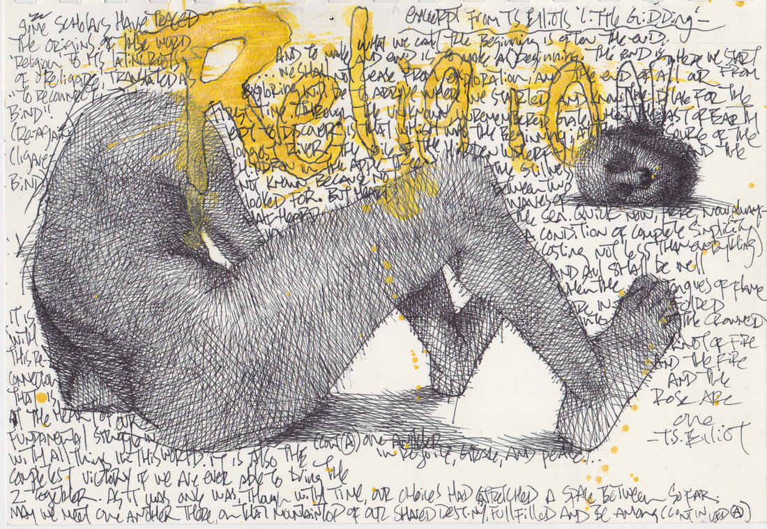 """religare, ink on paper, 5.5""""x 8.5"""",2014"""