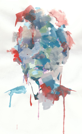"headpiece 1, goauche on paper, 9""x 12"", 2011"