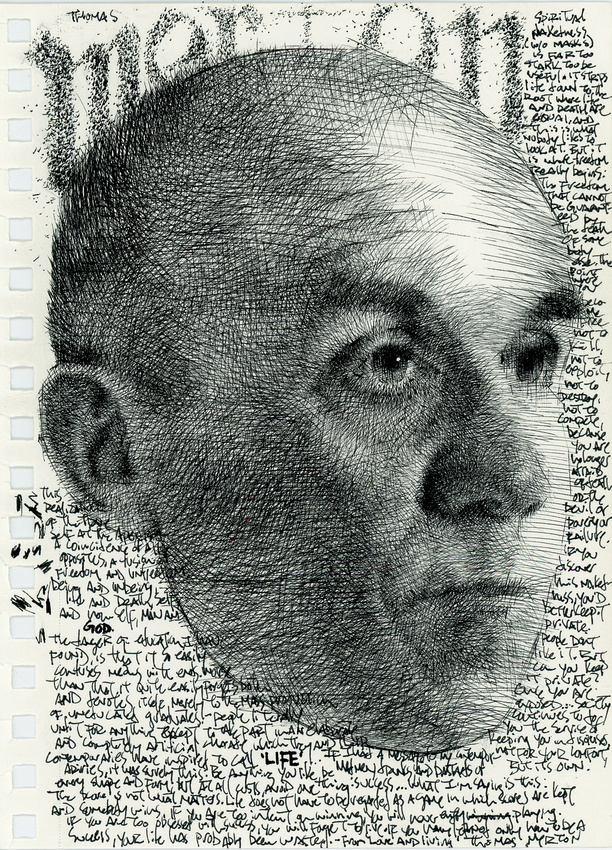 "homage to Thomas Merton, ink on paper, 5.5""x 8.5"", 2014"