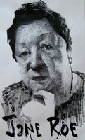 "Jane Roe- pen and ink on paper- 5.5""x 8.5"" (2008)"